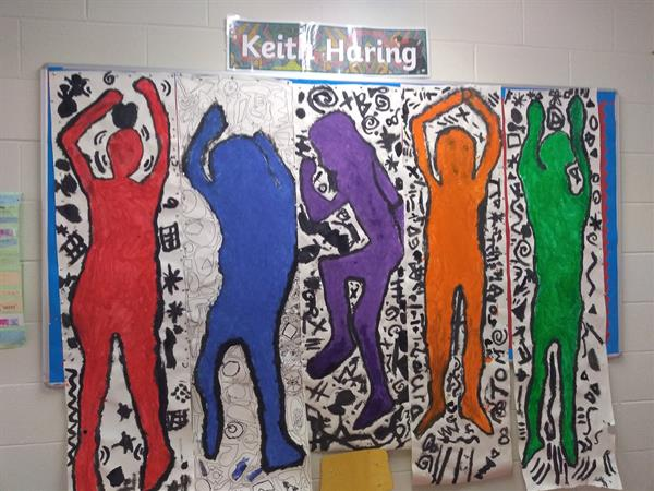 Keith Haring inspired art in 1st Class!